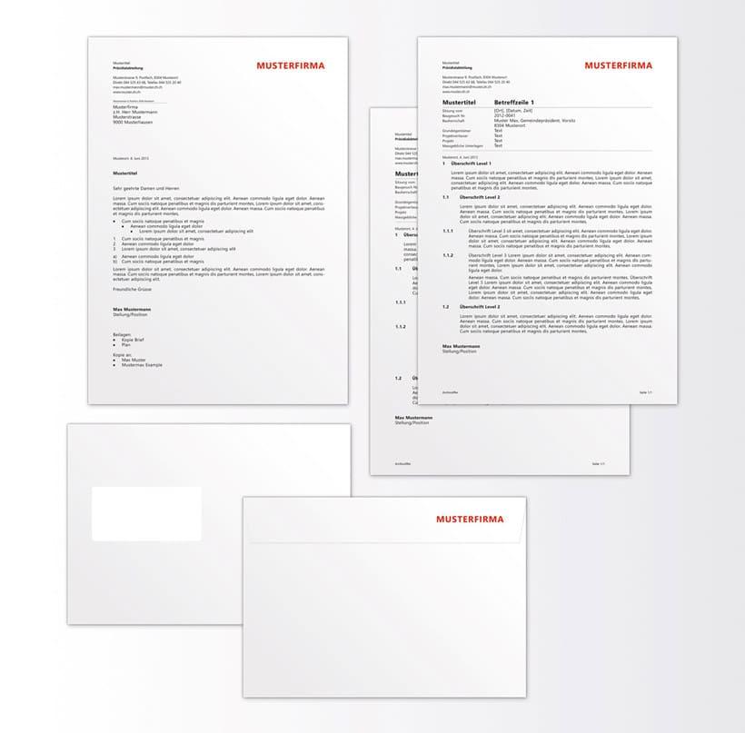 Design von Geschäftsbriefschaften